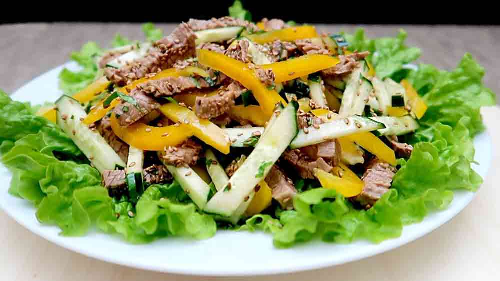 SALAD with marinated Beef and Sesame! # 6